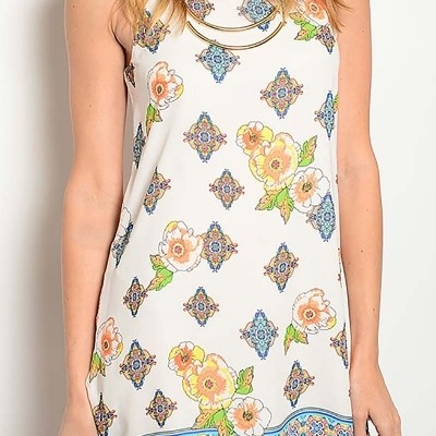 floral and geo print dress