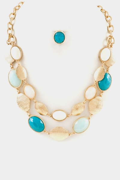 blue oval faceted layered necklace