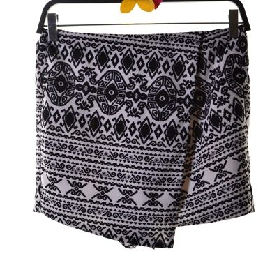 black and white wrap shorts